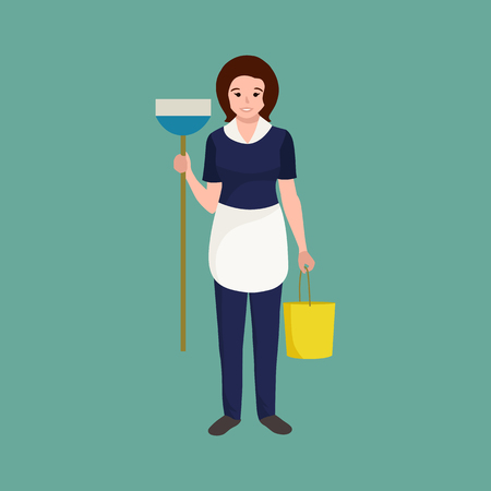 homemaker: Housewife girl homemaker cleaning woman. Peoples profession team vector illustration. Home cleaning woman