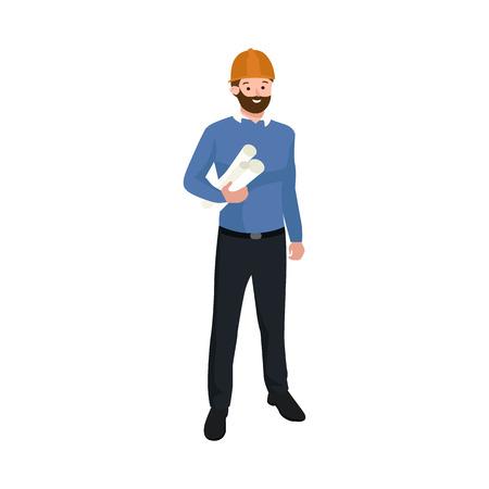 Civil engineer, architect or construction worker man vector illustration. Worker man
