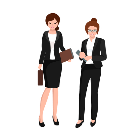 business work: business woman in costume with files and case, office worker team vector illustration Illustration