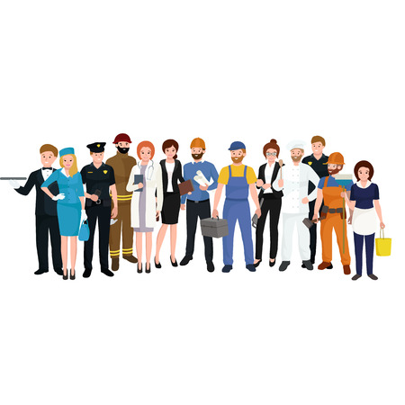 People different profession. Man and woman vector illustration set. Group of people Ilustrace