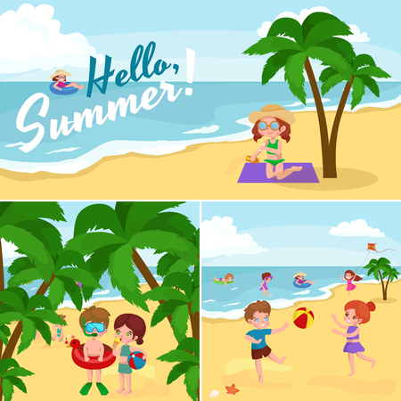 swimwear: Children summer vacation. Kids Playing sand around water on beach. Cute little girl in a bathing suit and Funny boy Swiming in the sea. Illustration