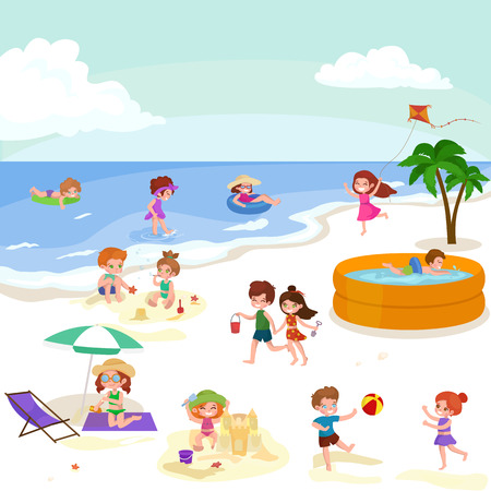 bathing suit: Children summer vacation. Kids Playing sand around water on beach. Cute little girl in a bathing suit and Funny boy Swiming in the sea. Illustration