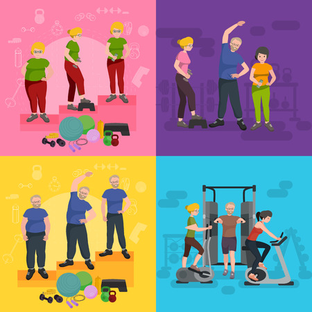 before: before and after weight loss peoples, men and women, concept fitness vector illustration