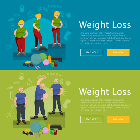 before: before and after weight loss old senior concept fitness vector illustration Illustration