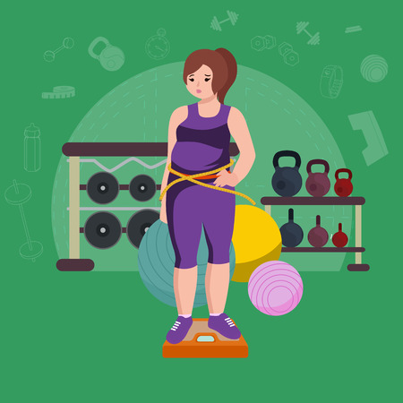 Plus size fat woman. Young pretty cartoon style fitness girl in gym.