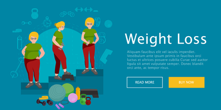 change size: before and after weight loss women in gym concept fitness vector illustration