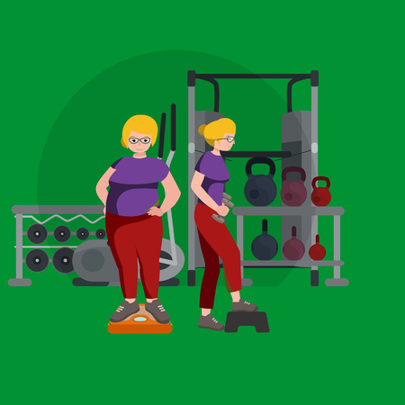 slim woman: before and after weight loss women in gym concept fitness vector illustration