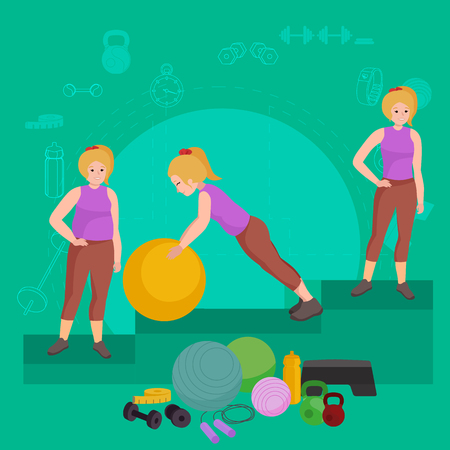 after: before and after weight loss women in gym concept fitness vector illustration