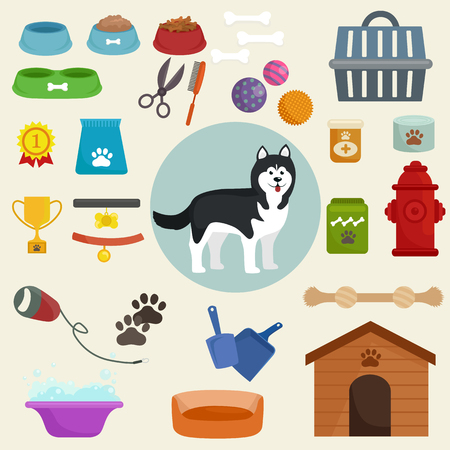 belongings: Dog icons flat set with dung kennel leash food bowl isolated vector illustration