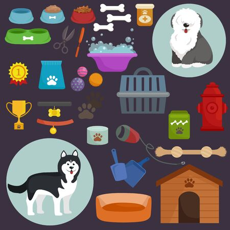 dog kennel: Dog icons flat set with dung kennel leash food bowl isolated vector illustration