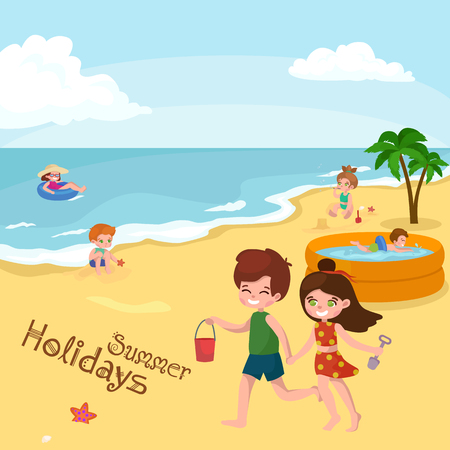 swiming: Children summer vacation. Kids Playing sand around water on beach. Cute little girl in a bathing suit and Funny boy Swiming in the sea. Illustration