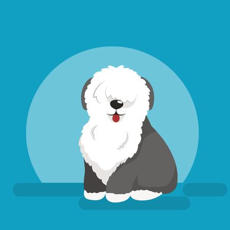 Illustratie van zittende grappige hond, Oud Engels Herdershond vector achtergrond