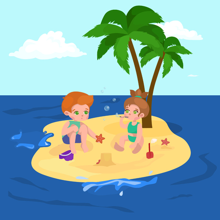 little girl beach: Children summer vacation. Kids Playing sand around water on beach. Cute little girl in a bathing suit and Funny boy Swiming in the sea. Illustration
