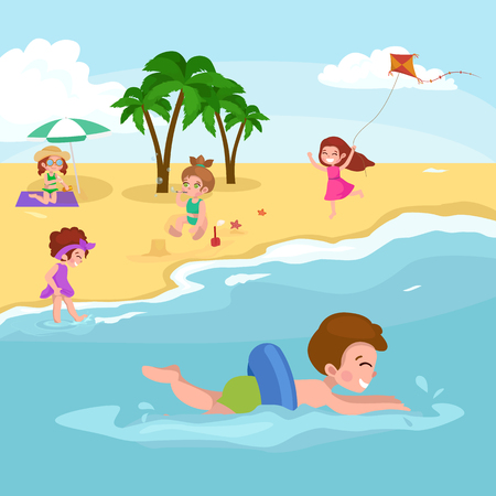 sand beach: Summer children. Children playing in the sand on the beach vector illustration
