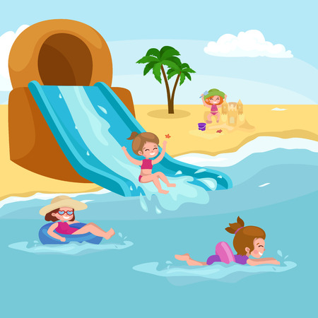 Children summer vacation. Kids Playing sand around water on beach. Cute little girl in a bathing suit and Funny boy Swiming in the sea. 일러스트