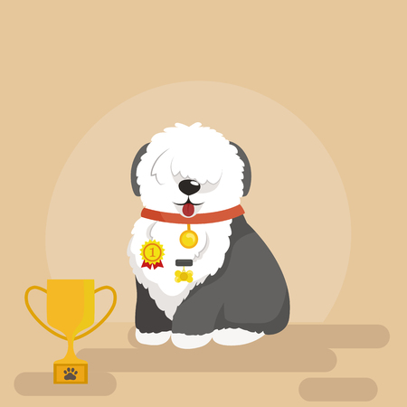 Illustration of sitting funny dog, Old English Sheepdog vector background Vector Illustration