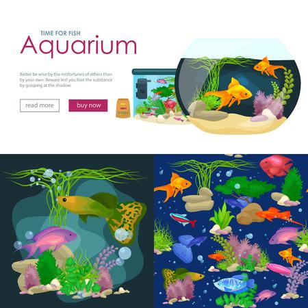 seaweed: Aquarium fish, seaweed underwater, banner template layout with marine animal vector illustration
