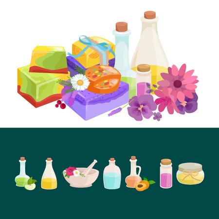 flower bath: Bottles with organic essential aroma oil and soap bar set vector illustration Illustration