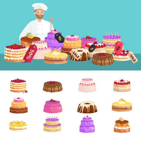 confectionery: confectionery shop Sale. Set of sweets, cakes. desserts with prices. vector illustration