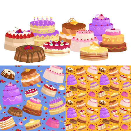 Sweets cakes with different stuffing, chocolate dessert with cream and fruits vector illustration set