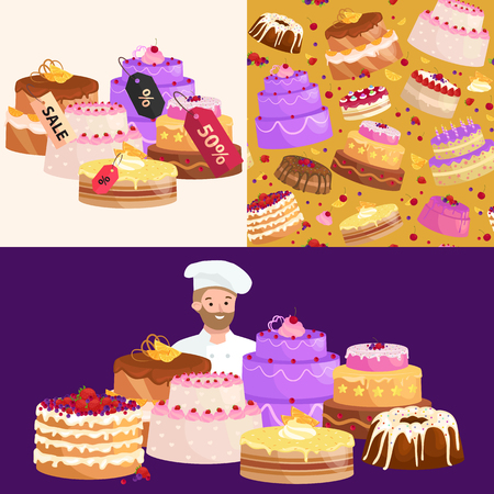 bakery price: confectionery shop Sale. Set of sweets, cakes. desserts with prices. vector illustration