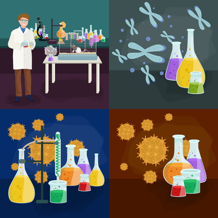 lab technician: Scientists in lab concept with man making research vector illustration set Illustration