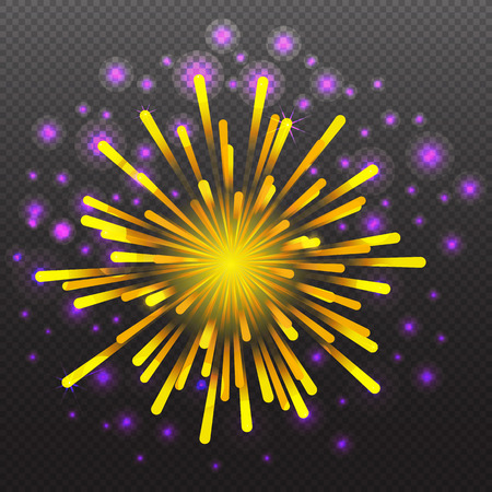 fourth birthday: Set of Varisus Festive Firework Salute Burst on Transparent Background vector illustration Illustration