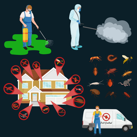 concepto de control de plagas de insectos exterminador vector silueta plana conjunto de ilustración