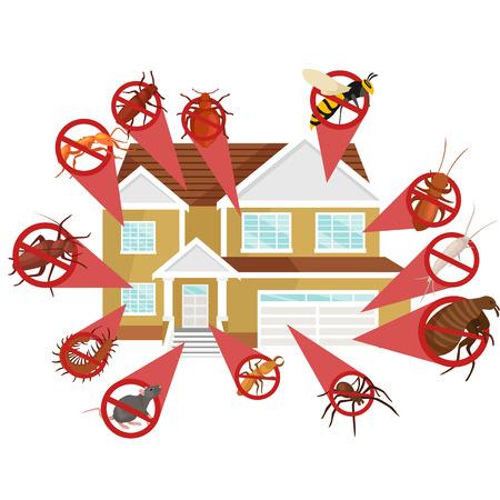 Koncepcja zwalczania szkodników z owadami Exterminator sylwetka płaskim Zestaw ilustracji wektorowych Ilustracje wektorowe