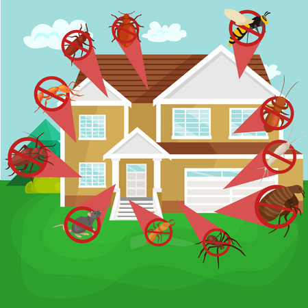 Pest control concept with insects exterminator silhouette flat vector illustration set