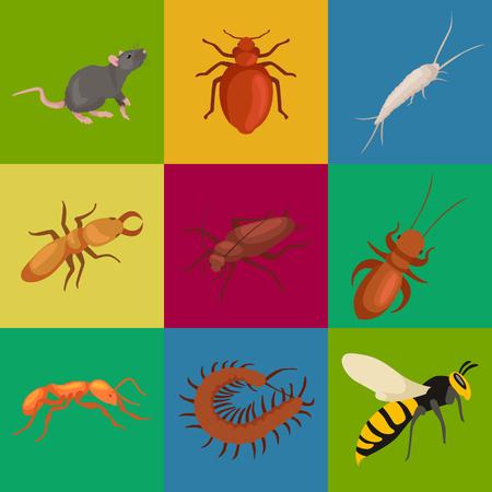 Ongediertebestrijding concept met insecten verdelger silhouet plat vector illustratie set Stockfoto - 57438132
