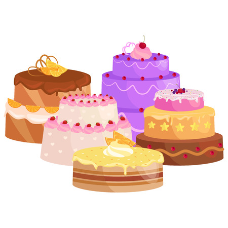 confectioner: Confectioner cartoon character with cake. Vector illustration. Catering mascot, identity character. Pastry-cook.