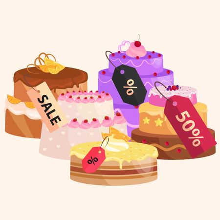 Konditorei Verkauf. Set von Süßigkeiten, Kuchen. Desserts mit Preisen. Vektor-Illustration