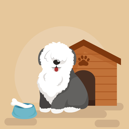 kennel: Happy Dog kennel, house with bone and bowl of food, vector illustration
