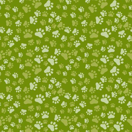 huellas de perro: La pata del perro de impresión sin problemas, anilams patrón de la ilustración, vector becolor Vectores