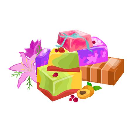 Natural Handmade Soap and Olives vector illustration set