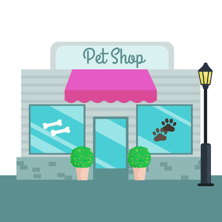 small business building: Pet Shops and stores front flat style. Vector illustration, small business building.