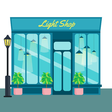 consept: Light shop and store, front icon flat style. Vector illustration small business consept