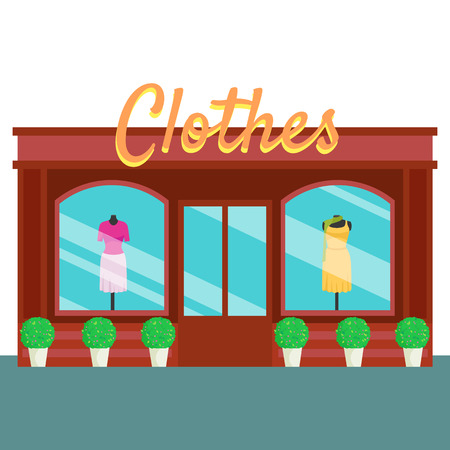 clothes shop: Clothes shop and store, building front flat style. Vector illustration small business consept