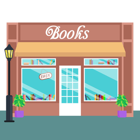 consept: Book shop and store, building front flat style. Vector illustration small business consept Illustration