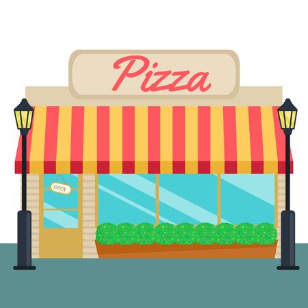 Pizza winkels en op te slaan voor vlakke stijl. Vector illustratie kleine zakelijke consept