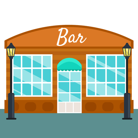 consept: Bar building front exterior flat style. Vector illustration small business consept
