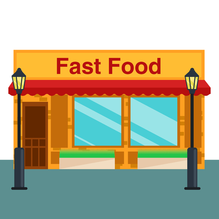 consept: Fast food shop, store front flat style. Vector illustration small business consept