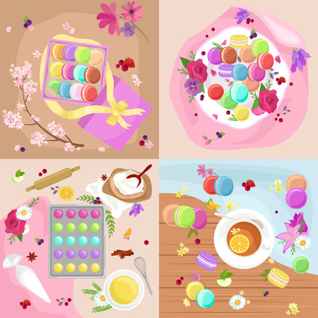 macaron: Sweet and colourful french macaroons or macaron vector illustration. Dessert fruit macaroons and different colors macaroons. Pasty traditional sweet macaroons biscuit dessert france delicious.