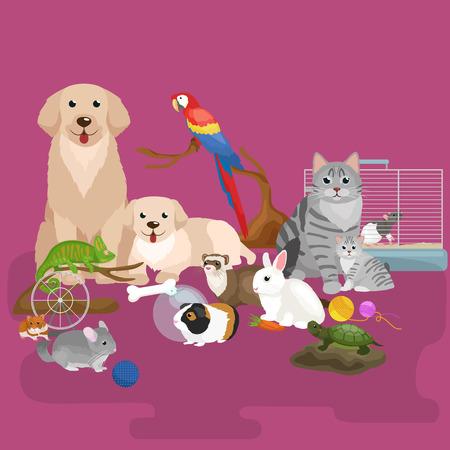 ustawić domowe zwierzęta, psa kota papugi rybki chomika fretki, animowanych ilustracji wektorowych, udomowione zwierzęta