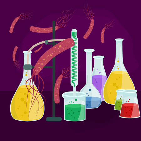 illustration infected: Viruses in infected organism , viral disease epidemic , Vaccine research vector illustration