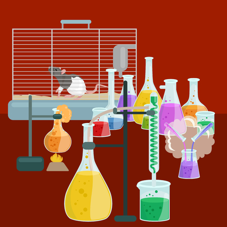 chemistry lab: Chemistry education research laboratory equipment, science lab glass tube, vector illustration