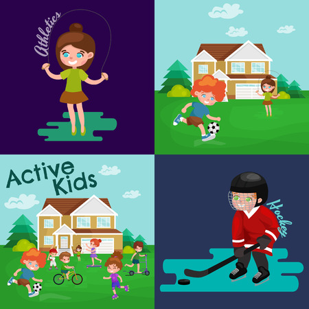 little skate: Kids sport, isolated boy and girl playing active games vector illustration Illustration