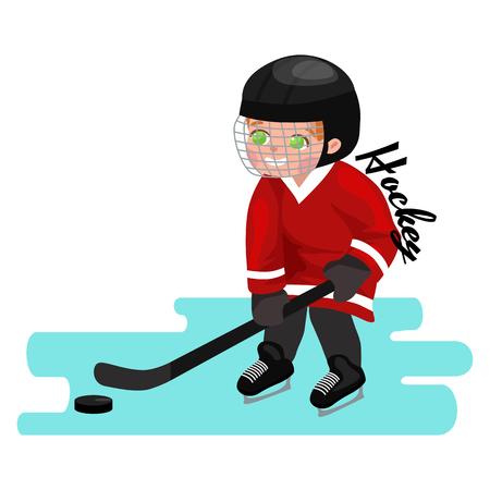 little league: Happy Boy playing ice hockey, kids sport, children activity on white background