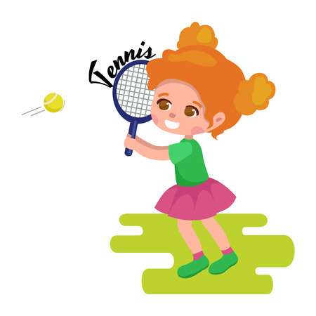 childrens playing: Happy girl playing tennis, kids sport, childrens activity on a white background Illustration